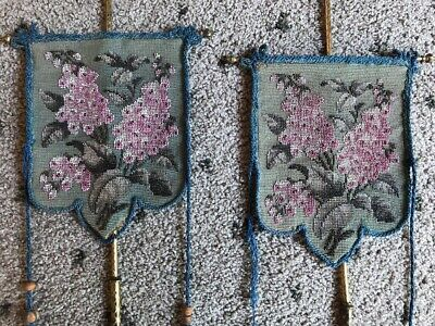Pair Of Hand Beaded Embroidered Victorian Face Fire Shields / Banners