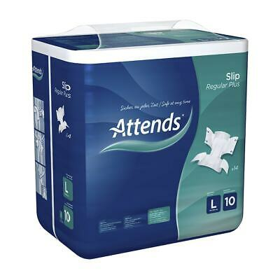 1x Attends Incontinence Slip Regular Plus 10 - Large - Pack of 14 - 3699ml
