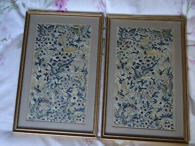 Chinese 19th Century Beautiful Antique Pair of Silk Embroidery Panels