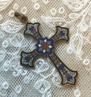 Antique Crucifix Cloisonné French Cross Enamel Abbey Monastery 19th Century Old