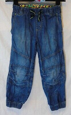Boys Debenhams Blue Panelled Denim Biker Style Cuffed Relaxed Jeans Age 6 Years
