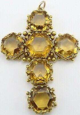Large antique 15 carat gold pendant cross. Set with six yellow citrines.