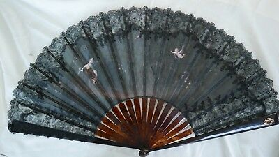 Antique 19Th Century Black Lace Fan With Monogram