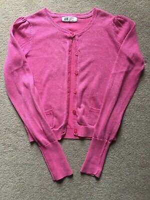 H&M Girls Pink Glitter Cropped Cardigan - Age 6-8 Years (5-6, 6-7, 7-8)