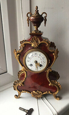 Antique French Shell & Ormolu Bracket Clock _ Key @ 1900