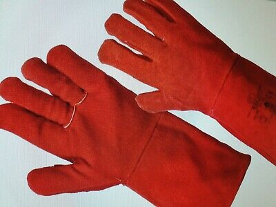 Red Leather Welding Fabrication Gloves LEATHER MIG WELDERS GAUNTLETS RED LARGE