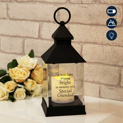 Memory Of GRANDAD Graveside Grave Memorial Lantern Suit Outdoors 27cm Battery