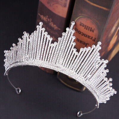 Bridal Wedding Crystal Flower Tiara Crown Pearl Rhinestone Hair Headband QueenP0