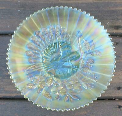"NORTHWOOD ICE GREEN CARNIVAL GLASS   ""PEACOCKS on the FENCE""   PLATE"