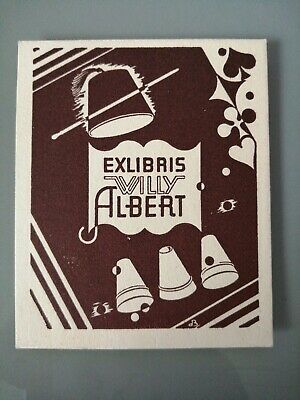 Rare Ex Libris Willy ALBERT Magie Gobelets Magicien Prestidigitation