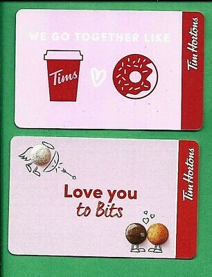 2019 2020 Tim Hortons Canada  Valentines Gift Cards No  Value
