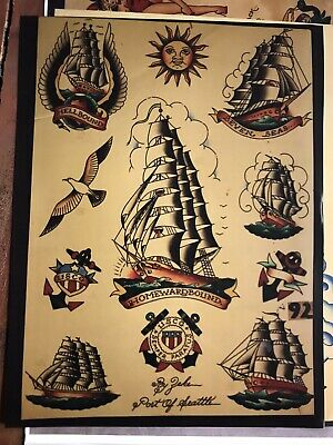 Vintage Copy Zeke Owens Traditional Tattoo Flash