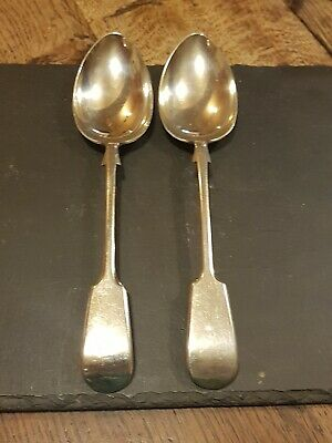 Pair of Fiddle Pattern Serving Spoons Nevada D & A Silver Plate
