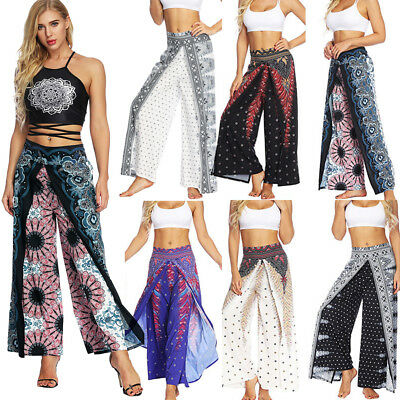 Womens Casual Wide Leg Yoga Harem Pants Slit Loose Palazzo Gypsy Hippie Trousers