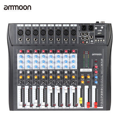 8 Channel Digtal Mic Line Audio Mixing Mixer Console with 48V Phantom Power G7W6