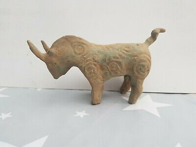 Ancient Near Eastern Bronze Bull Figure Idol or Votive Offering  Statue Hittite