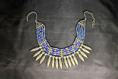 Gorgeous Tibetan antique necklace made of Silver, Coral and lapis lazuli