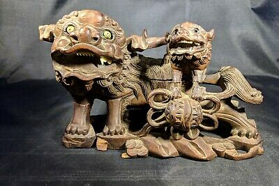 18th. century Chinese hand carved wood Foo Lion