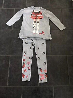 Girls Jeycat Designer Leggings And Top Grey Age 5