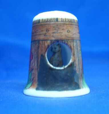 Cat in the Fence Peephole Free Dome Box Birchcroft China Thimble