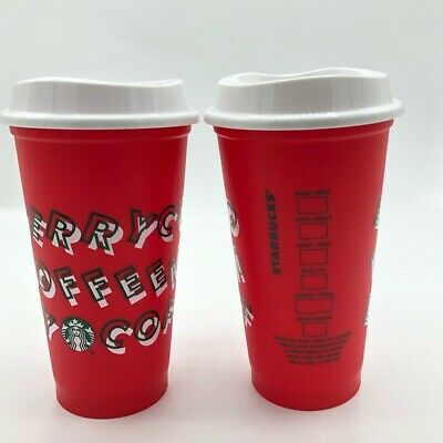 $0.50 Discount @ Starbucks 2019 Holiday Christmas Red Reusable Coffee Hot Cup