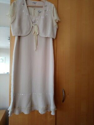 Silk Cream Dress and Jacket Two Piece Size 12 Wedding or Mother of the Bride