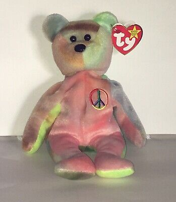 """TY Beanie Baby """"Peace"""" Bear with Multiple Errors, P.V.C. Pellets Unique Markings"""