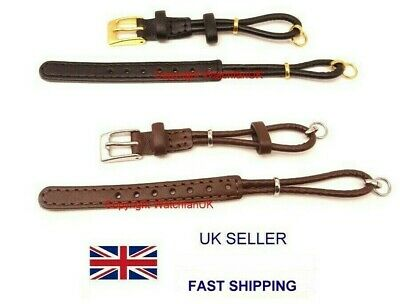 Ladies Black or Brown Leather Watch Strap Cordette Ring Ends