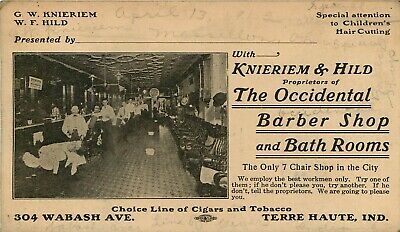 Occidental Barber Shop and Bath Rooms, Terre Haute, IN Trade Card c1912