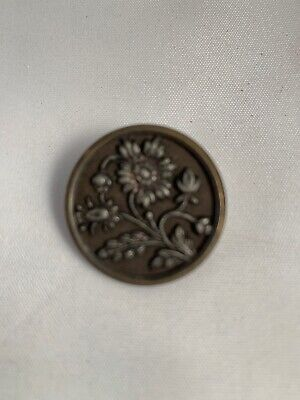 Victorian Stamped Brass Cut Steel Tinted Large Picture Button Flowers Daisy