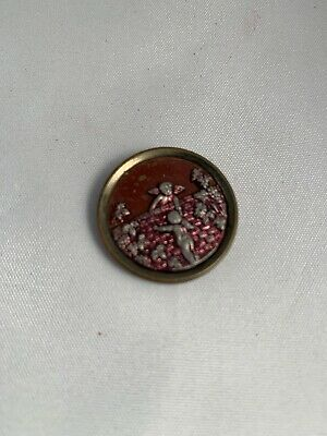 Victorian Stamped Brass Cut Steel Rare Red Tinted Large Button Cupid Cherubs