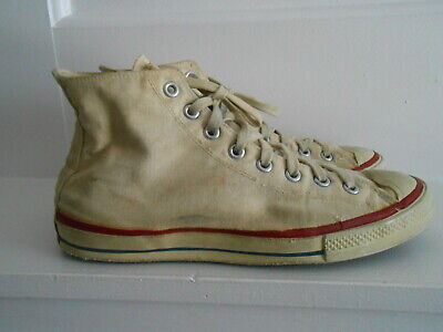 Vintage 1950's CONVERSE ALL STAR Red Label CHUCK TAYLOR White High Top  Sz.9