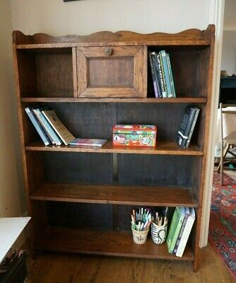 Vintage Antique Oak Wooden Bookcase with Bureau cabinet  Lovely piece
