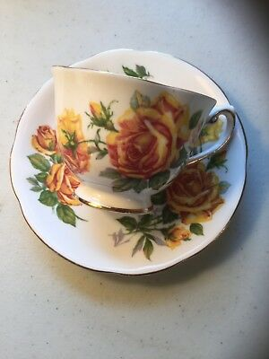 Vintage Royal Standard Romany Rose Yellow Tea Rose Cup Saucer England Bone China