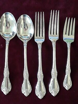 "VTG. WM.A. ROGERS ONEIDA Silver Plated Flatware, 1965 Pattern "" VENESSA "" 5 Pc."