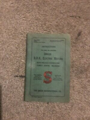 Vintage Instructions for Singer BRK Electric Motor sewing machines VGC