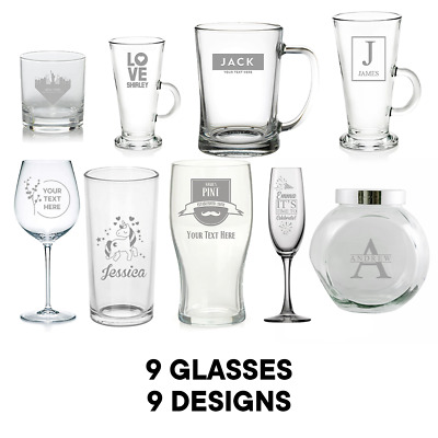 Personalised Glass Birthday Christmas Wedding Engraved Text Any Occasion Gift