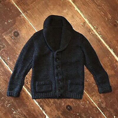 Vintage 50s Shawl Collar Cardigan Sweater Youth Boys 7-8 Years Gray Shaker Knit