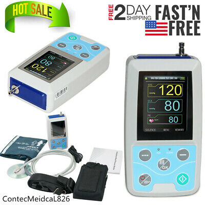 FedEx 2 Day Ambulatory Blood Pressure Monitor 24h NIBP Holter ABPM50+Software,US