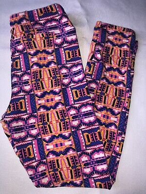 (BoxNN) LuLaRoe Kids Leggings S/M Small Medium New Pink Blue Yellow White Aztec
