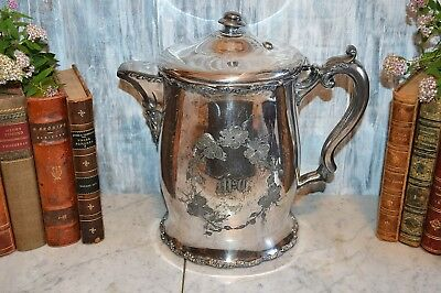 Antique F B Rogers Water Pitcher Quadruple Silverplate Large Ceramic Lined