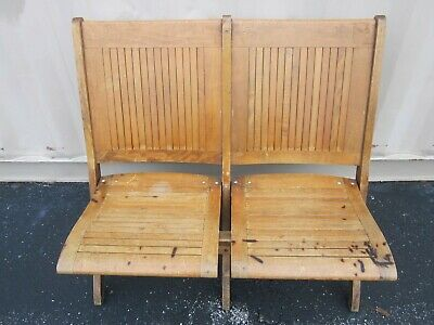 Swell Double Antique Vintage Folding Wooden Chairs Bench Ncnpc Chair Design For Home Ncnpcorg