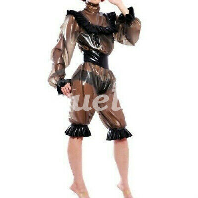 Latexanzug Latex Suit Rubber Coffee Ruffle Catsuit Zentai Gummi Bodysuit Kostüm