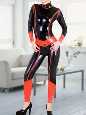 Hot 100% Latex Rubber Women Catsuit Zipper Tights Schwarz&Rot Gummi Bodysuit
