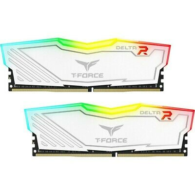 Team Delta 16GB (2x8GB) 3200MHz White RGB DDR4 PC RAM Gaming Desktop Memory