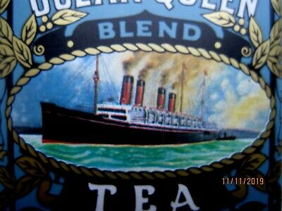 TEA  OCEAN  QUEEN  BLEND sehr alte, leere TEEDOSE -  LONDON - NEW YORK - CARACAS