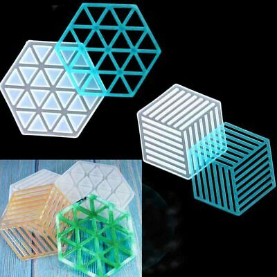 Hexagon Coaster Resin Casting Mold Silicone Jewelry Pendant Making Mould Craft A