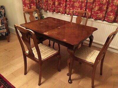 Antique Burr Walnut Extendable Table and 4 Chairs