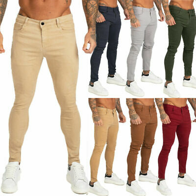 GINGTTO Men Chino Jean Skinny Colored Stretch Slim Fit Denim Trousers Red