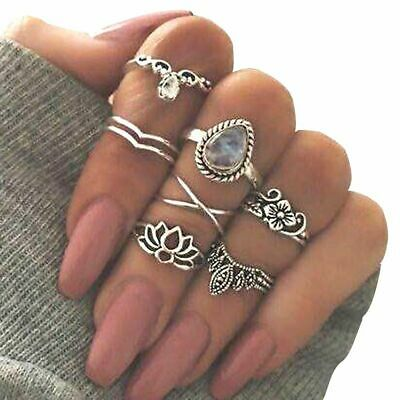 Antique Gold Silver Jewelry Knuckle Ring Set Hollow Flower Gemstone Carved